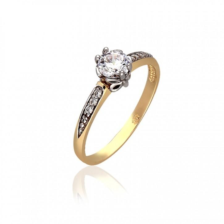 Pierścionek z żółtego złota z koroną w białym złocie.