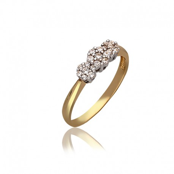 Pierścionek złoty kwiecisty wzór.