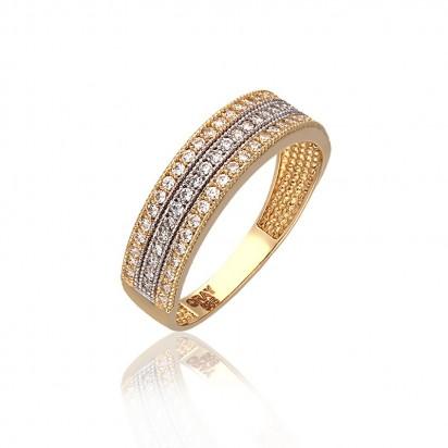 Złoty pierścionek w dwóch barwach