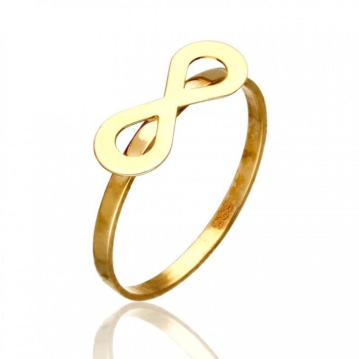 Pierścionek Złoty z klasycznym wzornictwem nieskończoności.