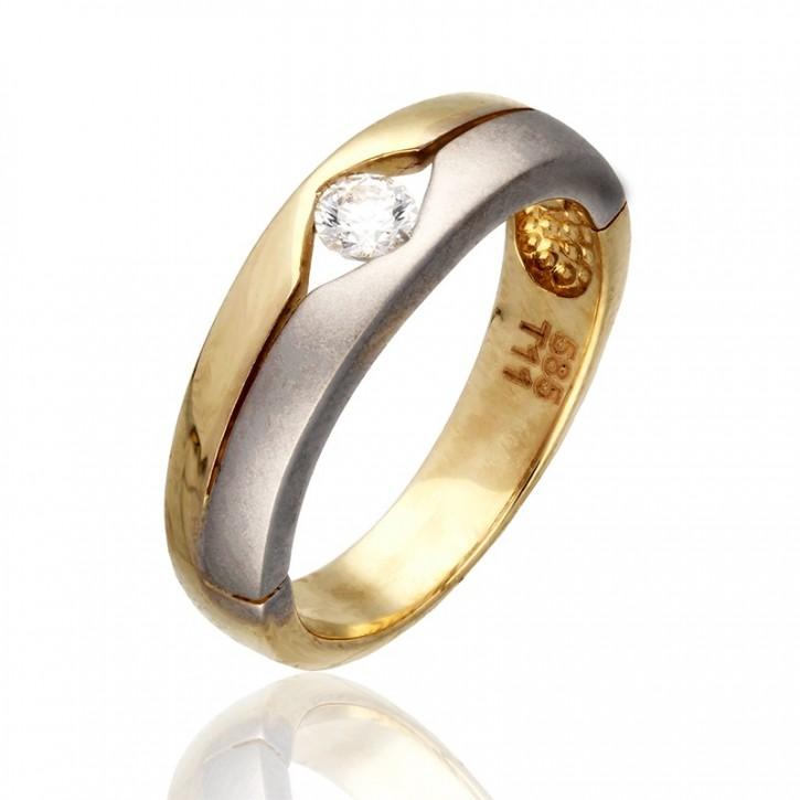 Połączenie żółtego i białego złota z cyrkonią.