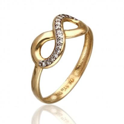 Złoty pierścionek w kształcie nieskończoności z białymi cyrkoniami