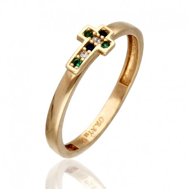 Pierścionek wykonany z żółtego złota.