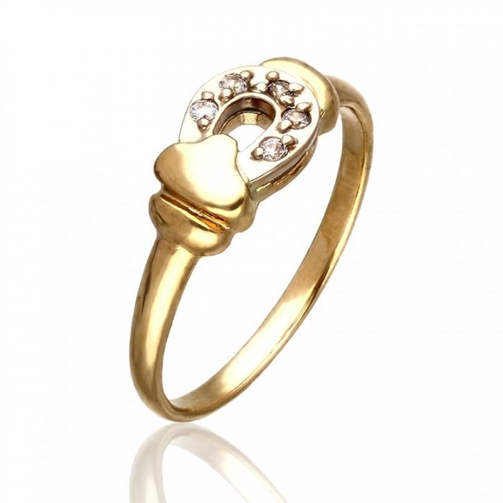 Złoty pierścionek podkowa z cyrkoniamii.