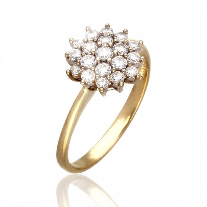 Pierścionek złoty na kształt kwiatu.