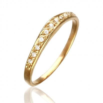 Pierścionek złoty obrączka z cyrkoniamii.