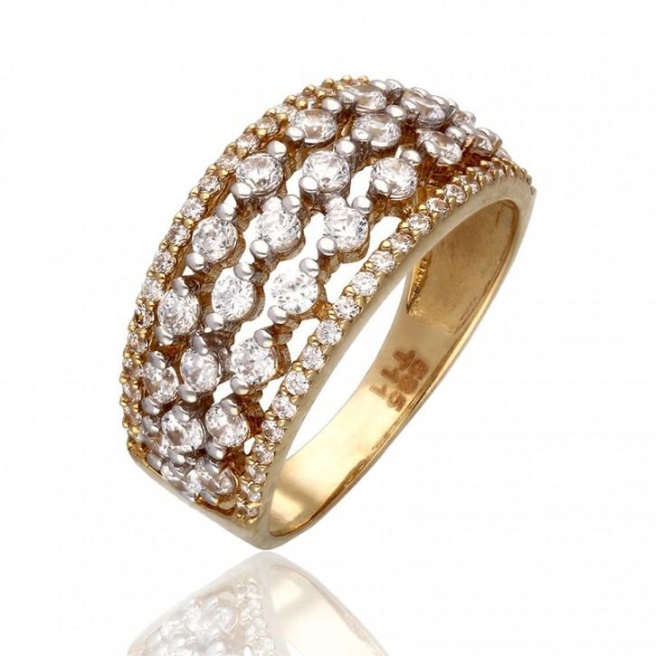 Złoty pierścionek obrączka z cyrkoniamii.