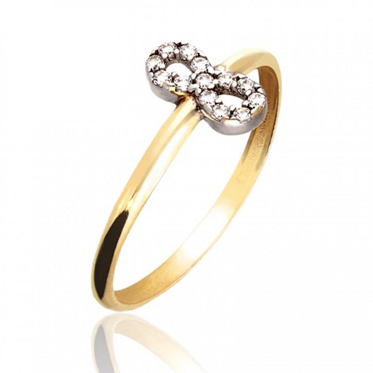 Pierścionek złoty ze znakiem nieskończoności.