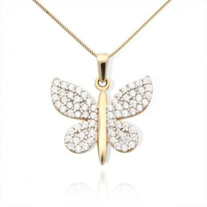 Zawieszka złota błyszczący motyl