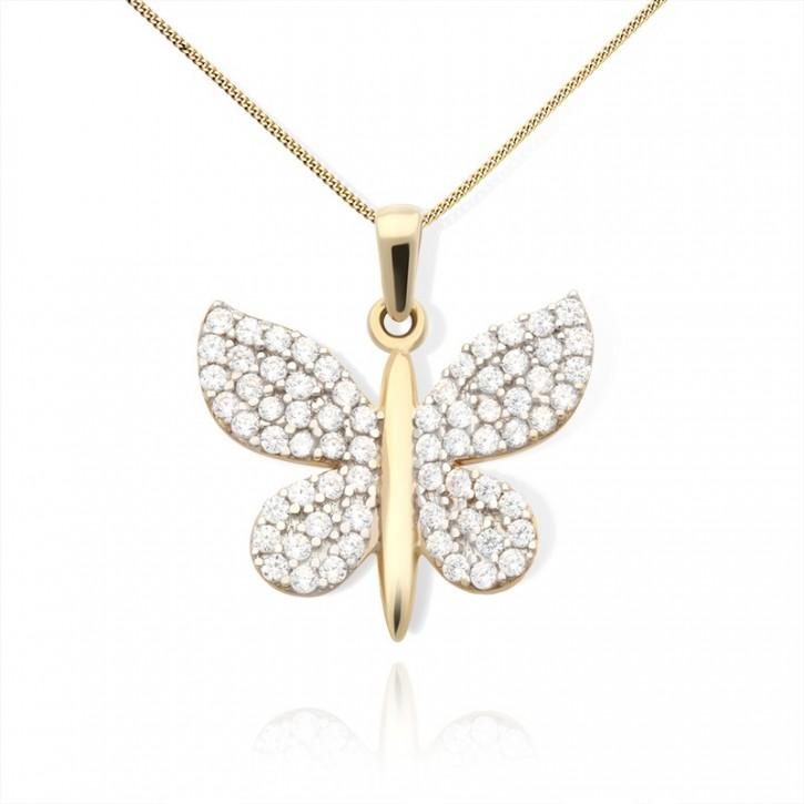 Złota zawieszka błyszczący motyl.
