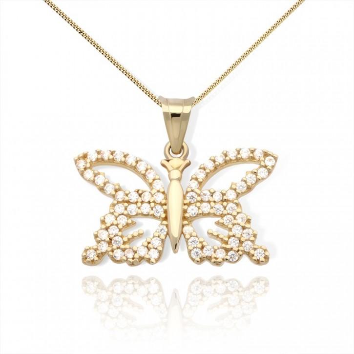 Zawieszka złota w kształcie motyla z cyrkoniami.