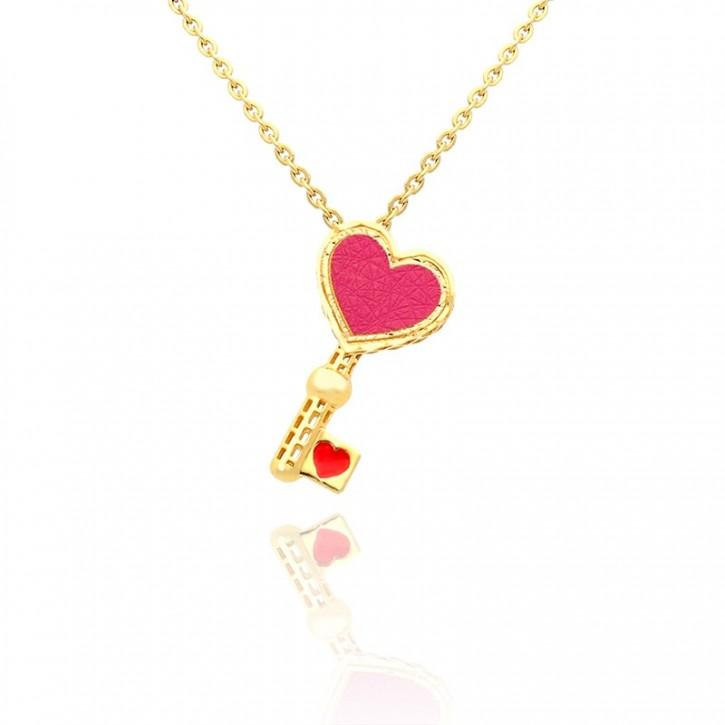 Łańcuszek Złoty z zawieszką kluczem z różowym wypełnieniem