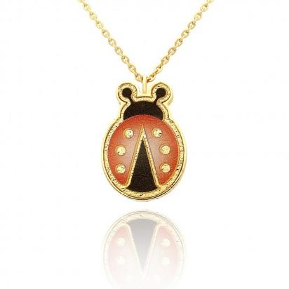 Łańcuszek złoty w kształcie czerwonej biedronki