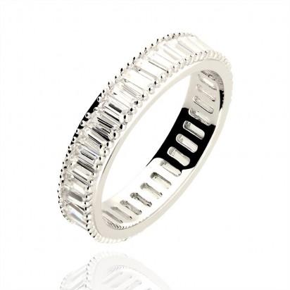 Pierścionek srebrny biała obrączka.