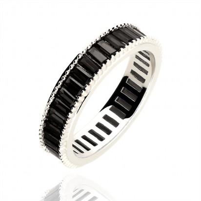 Pierścionek srebrny obrączka z cyrkoniami.