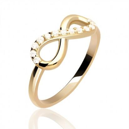Pierścionek złoty pokryty białymi cyrkoniami