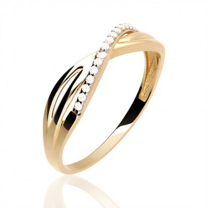 Pierścionek złoty z białymi cyrkoniami