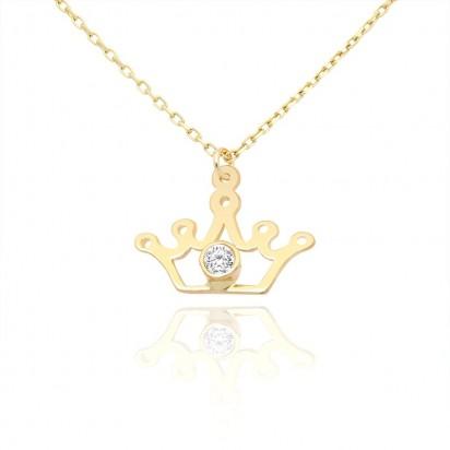 Złoty naszyjnik z koroną i białą cyrkonią