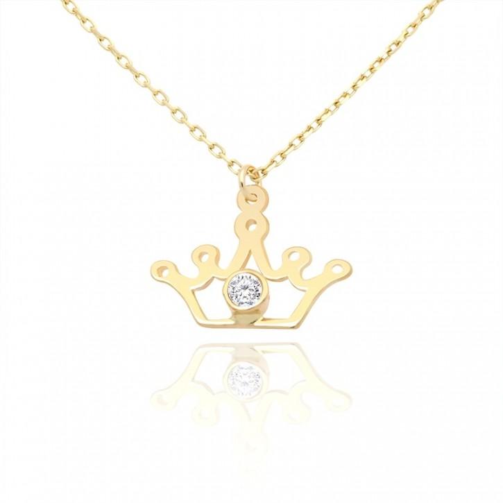Naszyjnik Złoty z koroną i białym oczkiem