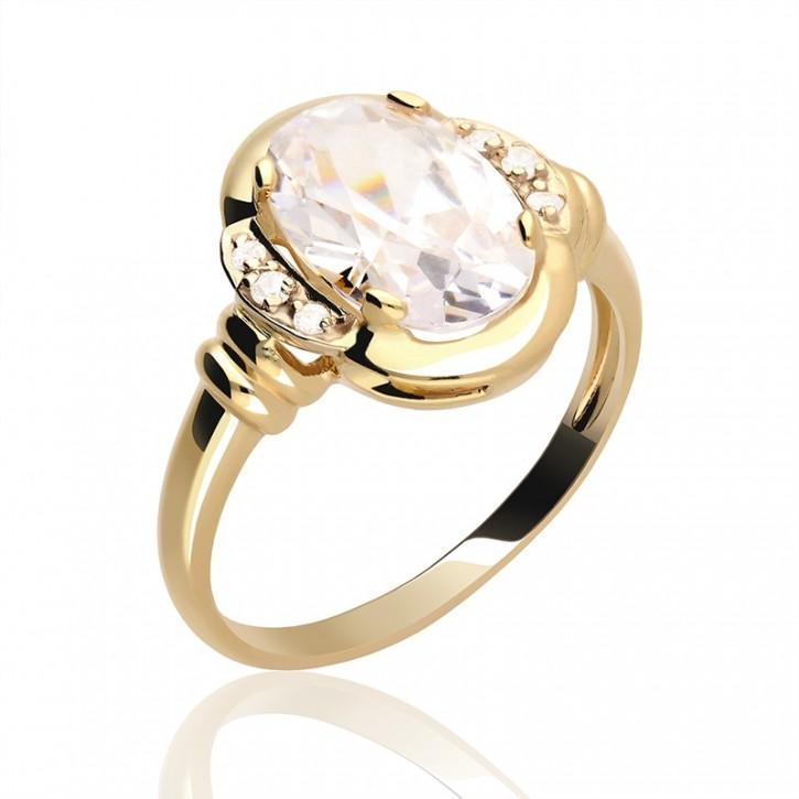 Pierścionek złoty z cyrkoniamii.