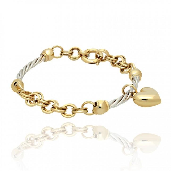 Bransoletka złota z sercem.