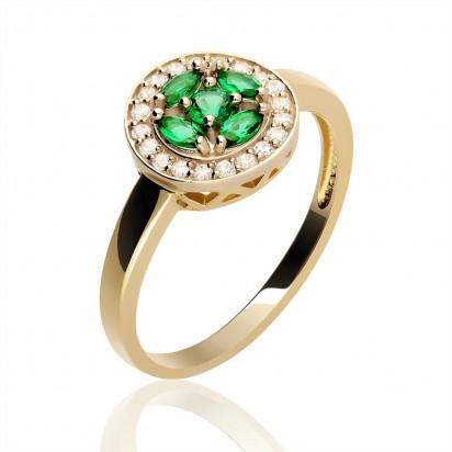 Pierścionek złoty okrągła korona z cyrkoniamii.