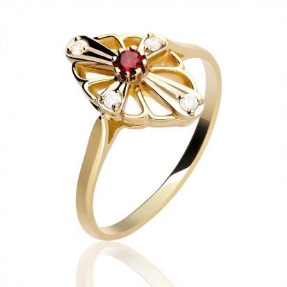 Prestiżowy,złoty pierścionek w nowoczesnym stylu.