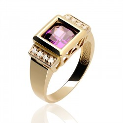Złoty pierścionek z fioletową cyrkonią.