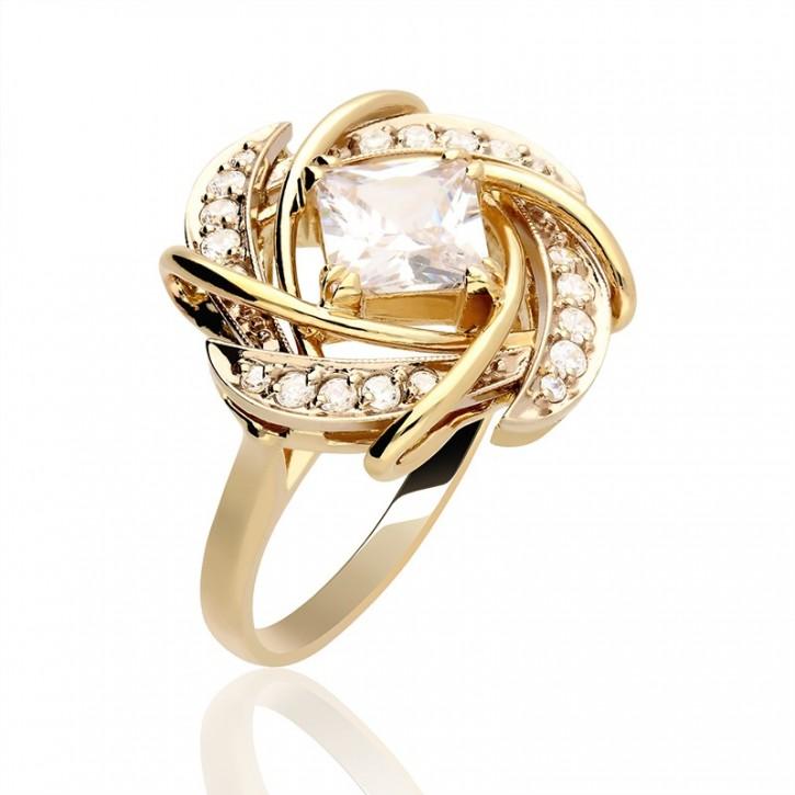 Złoty pierścionek w awangardowym stylu.