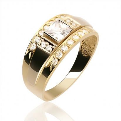 Pierścionek złota obrączka z cyrkoniamii.