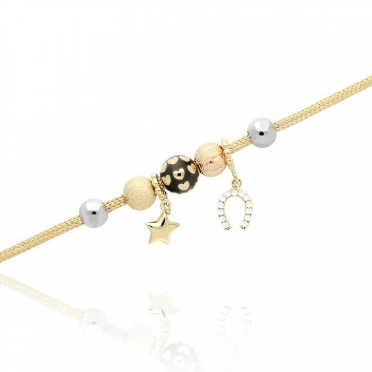 Bransoletka Złota z kolorowymi wisiorkami w kształcie gwiazdy i podkowy