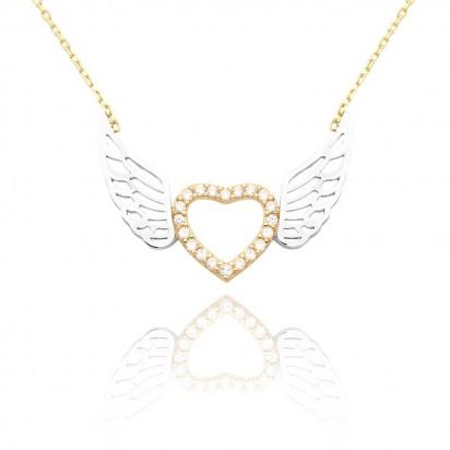 Złoty naszyjnik serce ze skrzydłami wypełnionymi białymi cyrkoniami