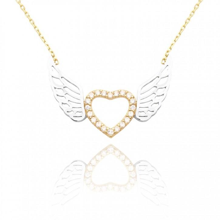Naszyjnik z żółtego i białego złota ze skrzydłami wypełnionymi cyrkoniami