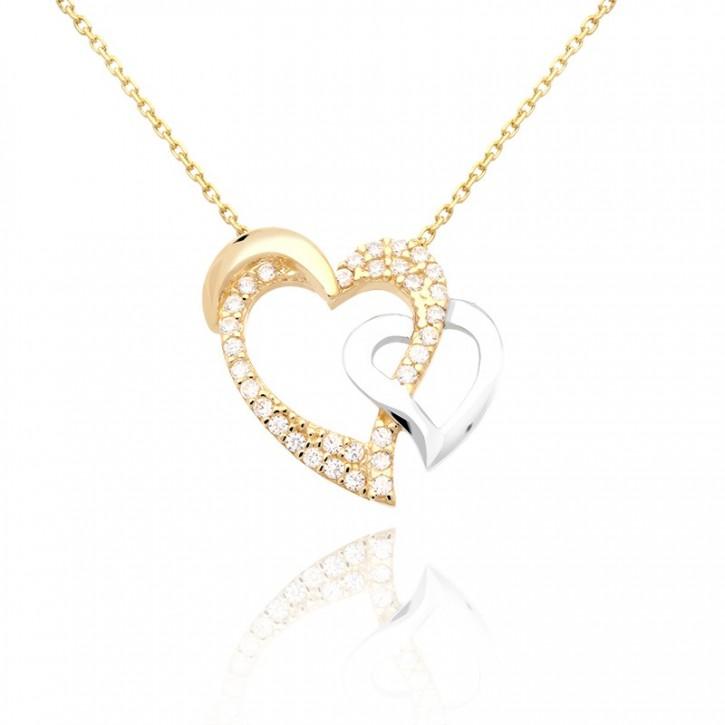 Złoty naszyjnik dwa serca.