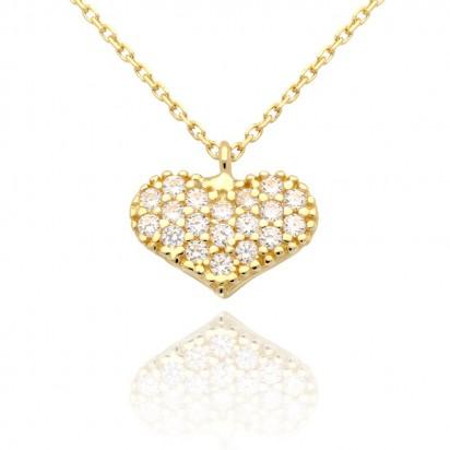Naszyjnik złoty serce cyrkonii