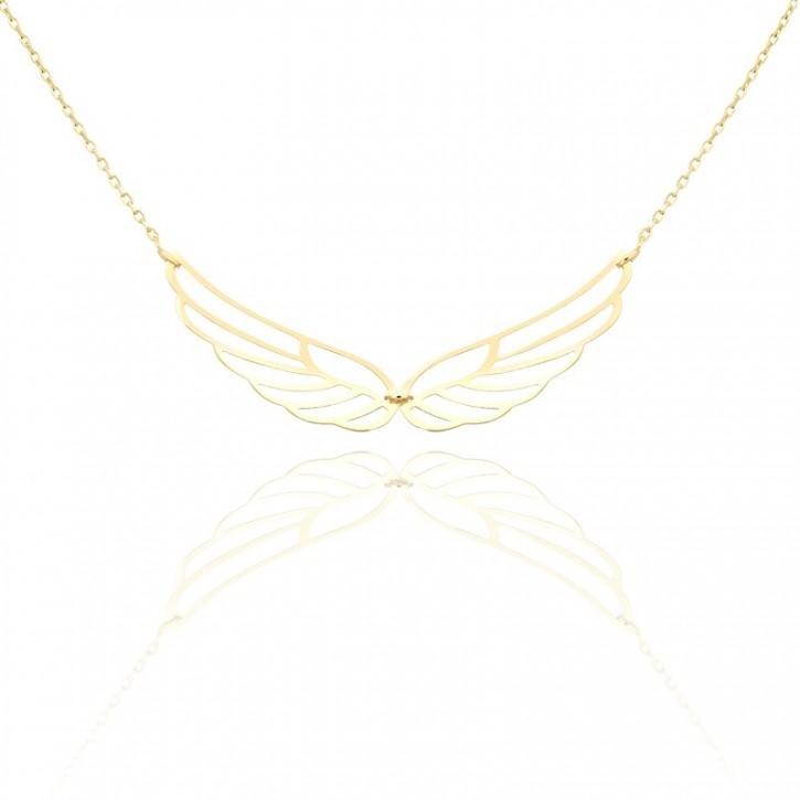 Złoty naszyjnik ażurowe skrzydło.