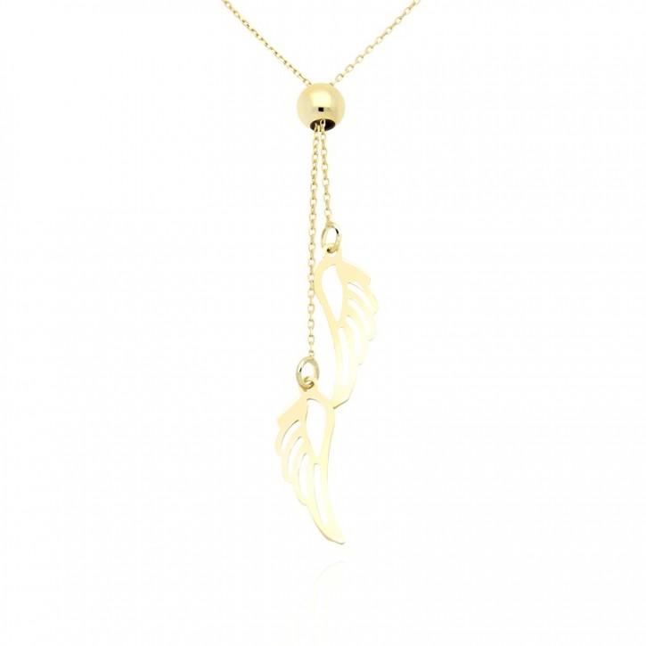 Naszyjnik złoty ze skrzydłami.