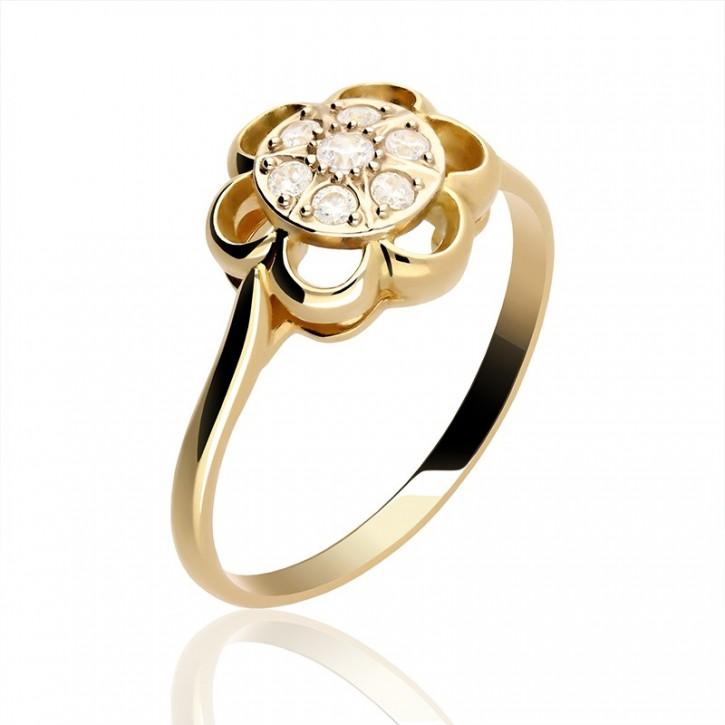 Złoty pierścionek kwiat z cyrkoniamii.