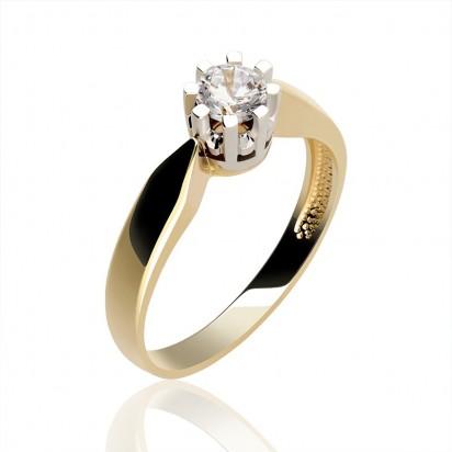 Pierścionek z żółtego złota z cyrkonią idealny na zaręczyny.