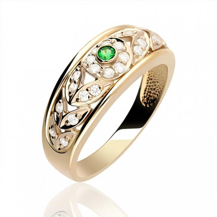 Pierścionek złoty z zieloną cyrkonią.