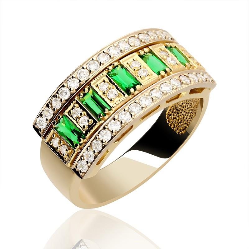 Bardzo dobra Pierścionek złoty z białymi i zielonymi cyrkoniami - Gold4U ZI66