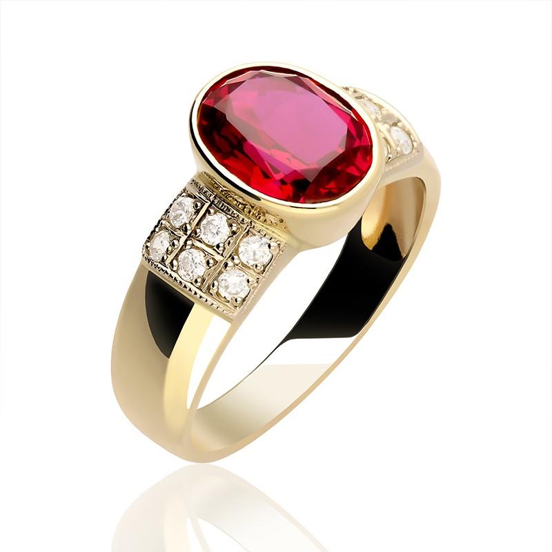 ddf8368b998c Pierścionek Złoty z centralnie umieszczoną czerwoną cyrkonią