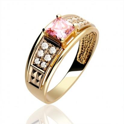 Pierścionek złoty z różową cyrkonią.
