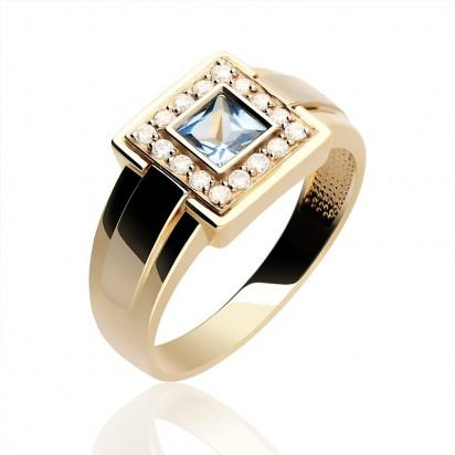 Pierścionek złoty z błękitną cyrkonią.