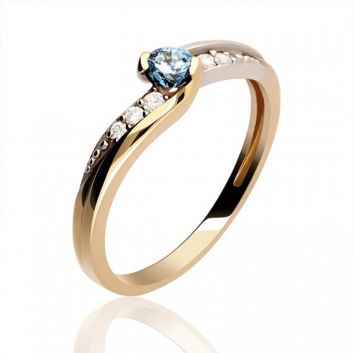 Pierścionek Złoty z szafirem i diamentami.