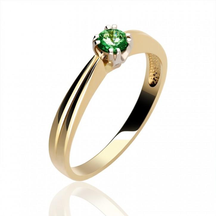 Pierścionek złoty z kamieniem szlachetnym.