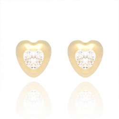 Kolczyki z żółtego złota w kształcie serca.