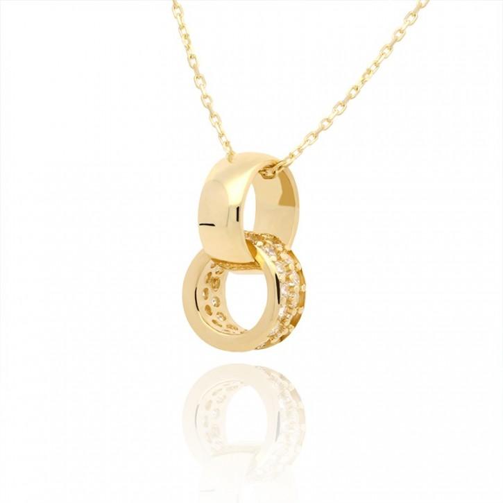 Naszyjnik złoty w kształcie obrączek ślubnych.
