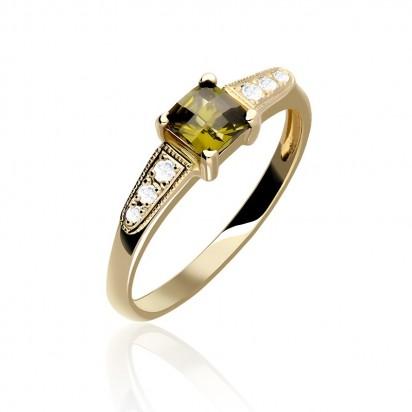 Pierścionek złoty wysadzany zielonym oliwinem