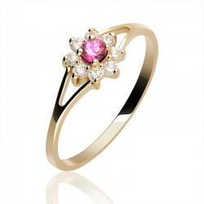 Pierścionek Złoty z małymi oczkami - białymi i jednym różowym na kształt kwiatka